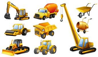 Different types of construction trucks vector