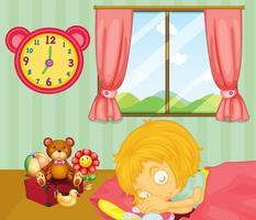 Una jovencita durmiendo profundamente en su habitación.