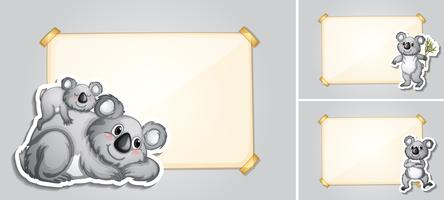 Three border templates with koala bears