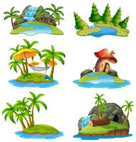 Different scenes of islands