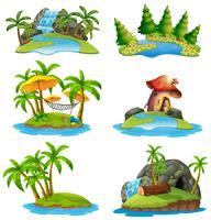 Olika scener av öar