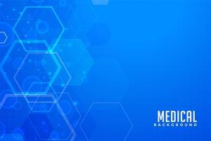Fondo médico azul con formas hexagonales.