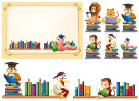 Cadre de papier et de nombreux animaux en lisant des livres