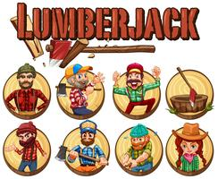 Lumber jack set on round badges vector