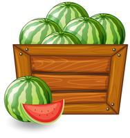Watermelon on wooden banner