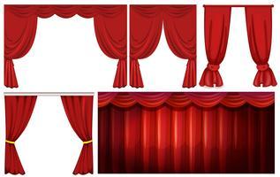 Verschillende ontwerpen van rood gordijn