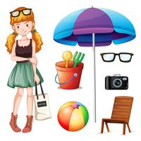 Hipster girl and beach objects