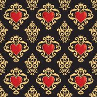 Seamless damask pattern with beautiful ornamental red heart s with crown on black background. Vector illustration