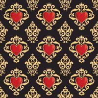 Nahtloses Damastmuster mit schönem dekorativem rotem Herzen s mit Krone auf schwarzem Hintergrund. Vektor-illustration