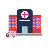 icône d'hôpital plat multi couleur