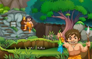 Deux hommes des cavernes vivant dans la maison de pierre