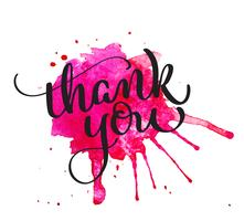 Thank you text on watercolor red blot. Hand drawn Calligraphy lettering Vector illustration EPS10