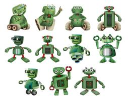 Green robots in different actions
