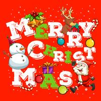 Tarjeta navideña con santa y muñeco de nieve