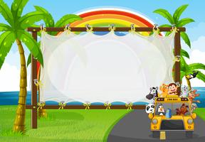 Frame design with animals on zoo bus