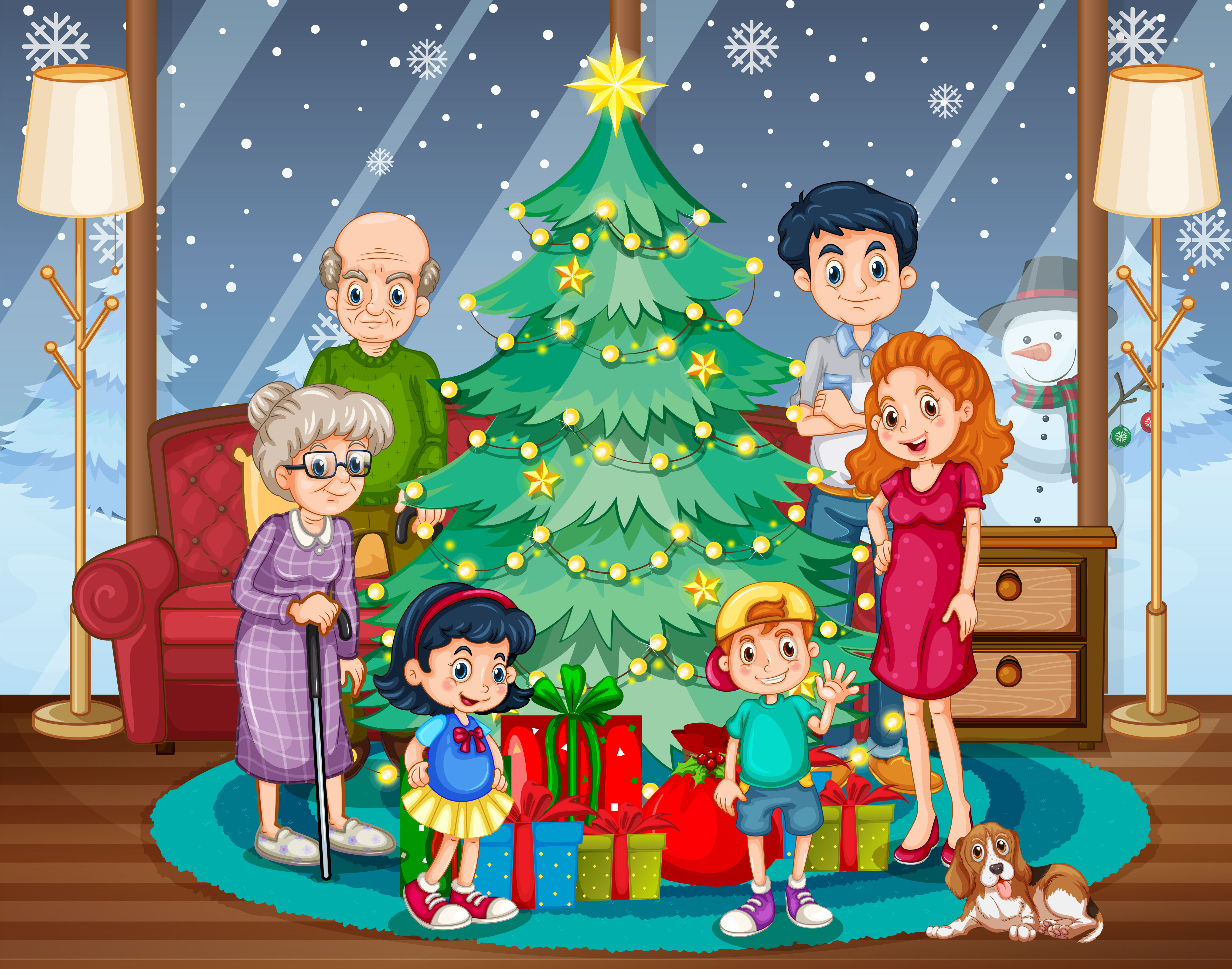 Family Gathering On Christmas Download Free Vectors Clipart Graphics Vector Art
