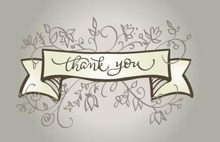 Calligraphy Thank you text beautiful vintage frame. lettering Vector illustration EPS10