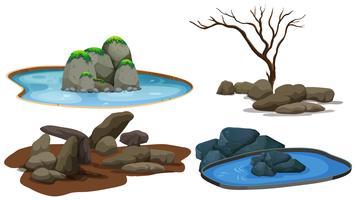 Un conjunto de piedra y estanque.