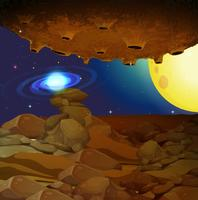 Background view of space with yellow moon