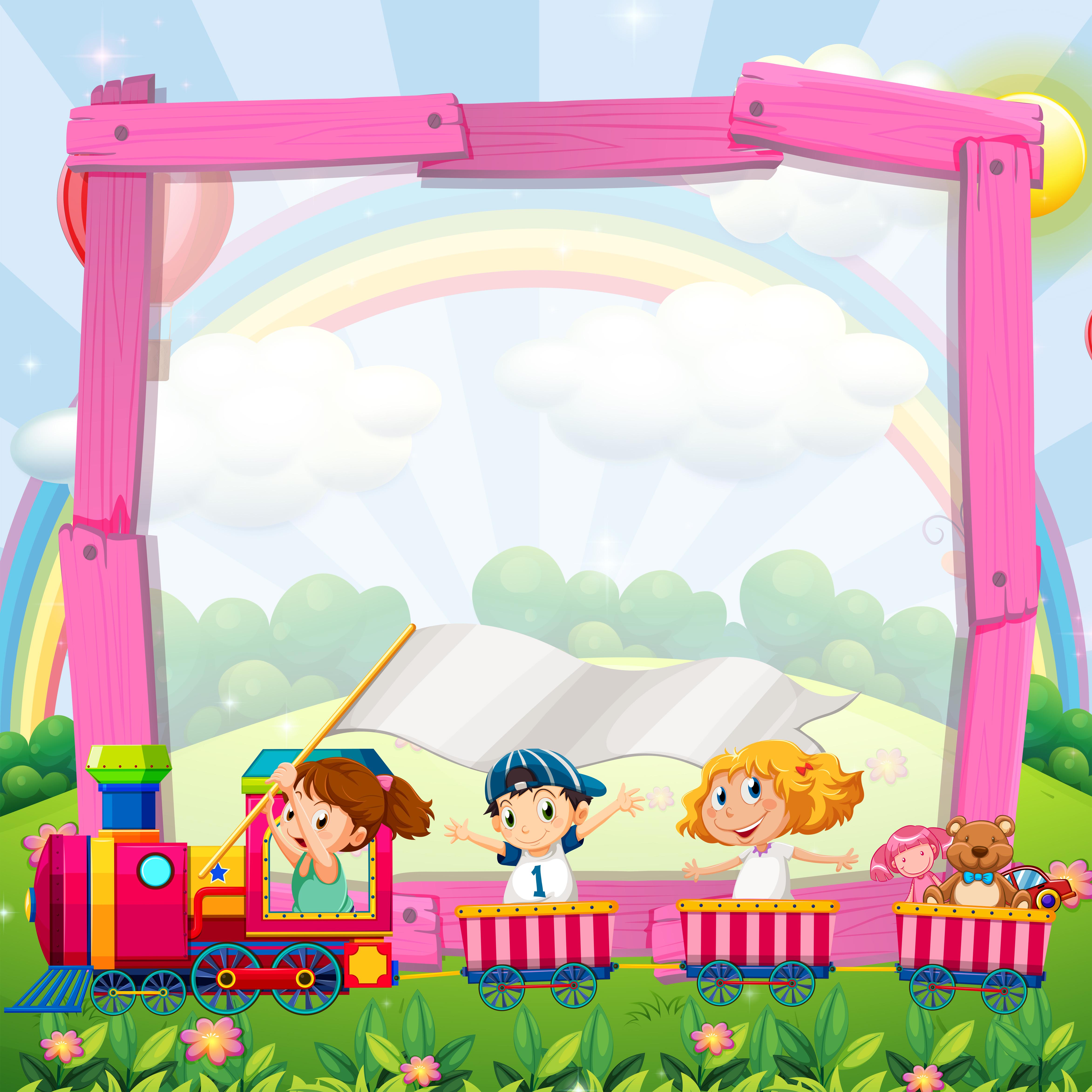 Border Design With Children On The Train Download Free Vectors Clipart Graphics Vector Art
