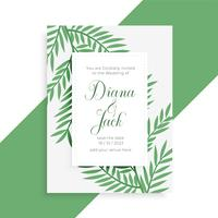 leaves style wedding invitation template
