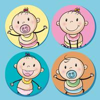 Baby boys and girls on round badge