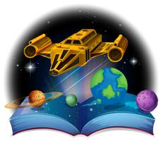 Sciene book with spaceship and solar system