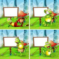 Four frames of frog in the park vector