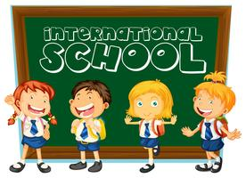 International school sign with students in uniform