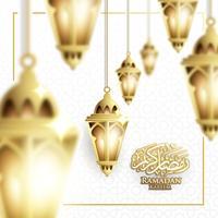 Hängande Ramadan Lantern eller Fanoos Lantern & Crescent Moon bakgrund i suddigt koncept. För webb banner, hälsningskort och kampanjmall i Ramadan Holidays 2019.