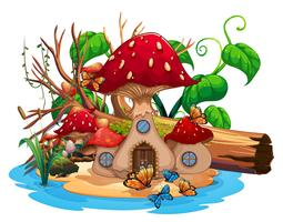 Mushroom house in the pond