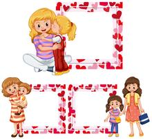 Heart frame templates with mother and kids