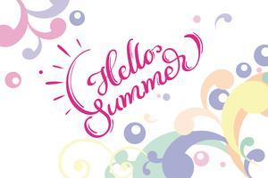 Hallo zomer woorden op witte achtergrond frame. Kalligrafie die Vectorillustratie EPS10 van letters voorzien
