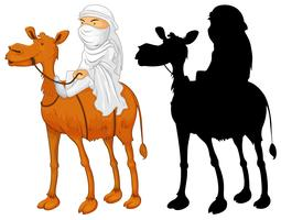 Arabischer Mann, der Kamel reitet