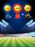 Etiquetas premiadas y campo de fútbol.