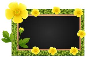 Border template with yellow buttercups vector