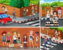 Cuatro escenas de la ciudad con jóvenes hipsters.