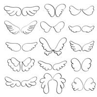 Set of angel wings on a white background. Calligraphy Vector illustration EPS10