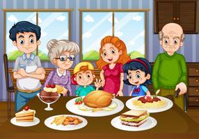 Familie die maaltijd samen in eetkamer heeft
