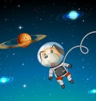 Hundeastronaut, der Raum erforscht