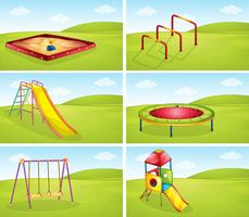 Set of playground equipments vector