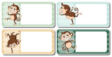 Diseño de etiquetas con monos lindos.