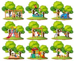 Set of playground park scenes