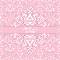 Cartão do molde com fundo real barroco abstrato em cores cor-de-rosa e brancas.
