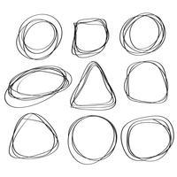Conjunto de quadros esboço doodle. Caligrafia, vetorial, ilustração, EPS10