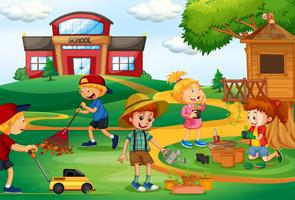 Group of children gardening vector