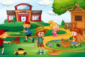 Groupe d'enfants jardinage