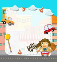 Border design with children and traffic