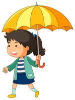Tjej med gult paraply
