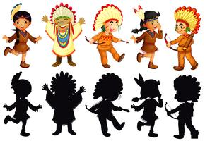 Set of native american character vector